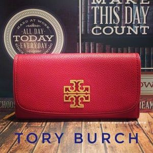 New Tory Burch Red leather wallet Gold logo
